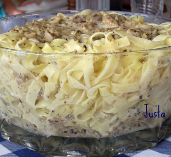 Pasta con pistachos y Gorgonzola