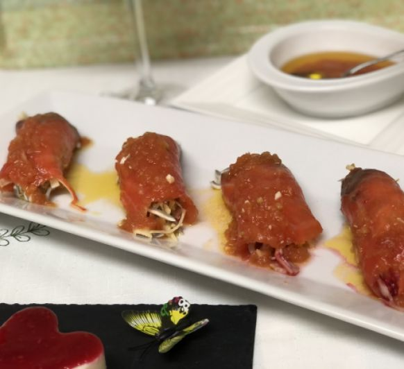 Rollitos de salmón ahumado con vinagreta templada de tomate Thermomix® Justa Molina Ciudad Real
